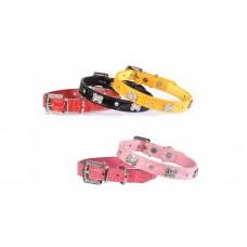 Camon CrocoBone - луксозен нашийник 38 см. / червен, черен, жълт, светло син, розов /