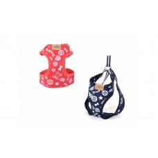 Camon Harness and leash parure - повод с нагръдник за кучета с обиколка на гърдите до 30 см. / червен, син /