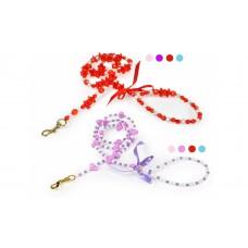 Camon Fashion Pearl Leash-Style - повод с нашийник от мъниста / лилав, розов, светло син, червен /  120см.