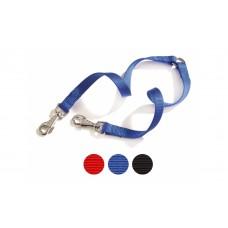 Camon Nylon twin leash - повод за две кучета / червен, син, черен /  12 мм. / 350 мм.