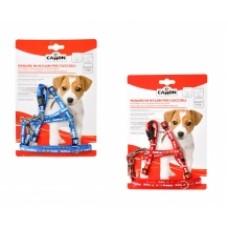 "Camon Parure pettorina e guinzaglio ""Puppy"" - нагръдник с повод за малки кученца / син, червен /"